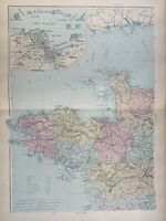 1891 Northwest France Hand Coloured Original Antique Map by G.W. Bacon