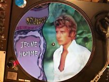 "JOHNNY HALLYDAY - JEUNE HOMME Mega Rare 12"" Picture Disc Single LP"