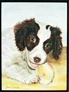 """M.JANE DOYLE SIGNED ORIG.ART OIL/CANV PAINTING""""LETS PLAY""""(PORTRAIT,DOG)FRAMED"""