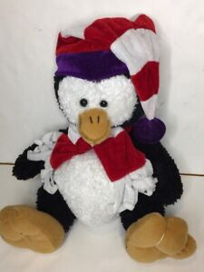 Penguin Plush Black And White Beanie Scarf Soft And Cuddly 30cm