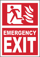 OSHA SIGN - EMERGENCY EXIT/FIRE EXIT | Adhesive Vinyl Sign Decal