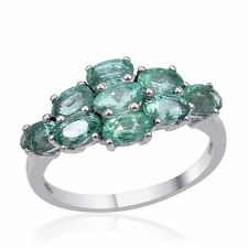 Kagem Zambian Emerald Ring Platinum 925 Sterling Silver Nickel Free Size 7