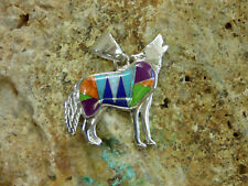 Southwest Howling Wolf Dog Sterling Silver Multi stone inlay pendant handmade