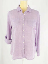 Talbots Purple Lilac Button Front Shirt Roll Tab Sleeves 100% Linen Size PM