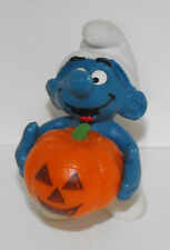 20136 Smurf Holding Halloween Pumpkin - Vintage Figurine - Schleich 1978