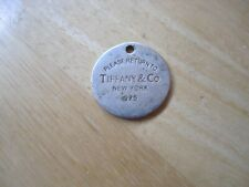 Tiffany & Co. New York (Please Return To) Round Sterling Silver Pendant/Tag