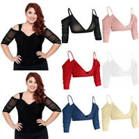 Women Both Side Wear Sheer Plus Size Seamless Arm Shaper Crop Tops Shirt Blouses