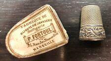 Dé à coudre en argent de la maison marseillaise P.FORTOUL - boîte d'origine