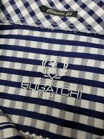 Bugatchi Mens Large Check Blue Classic Fit Button Front L/S Shirt MINT