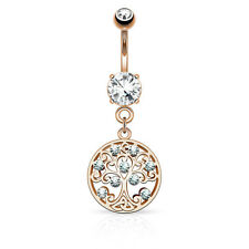 Dangle CZ set Tree of Life on CZ Prong set Surgical Steel Belly Bar / Navel Ring