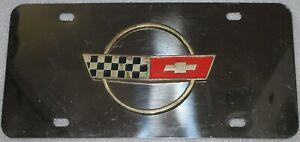 Vtg Chevrolet Corvette Chromed Stainless Steel License Plate Gold + Flags
