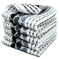 6 Pack 100% Cotton Kitchen Tea Towels Black White Extra Large 70x45cm |Towelogy®