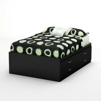South Shore Back Bay Full Captains Bed in Pure Black