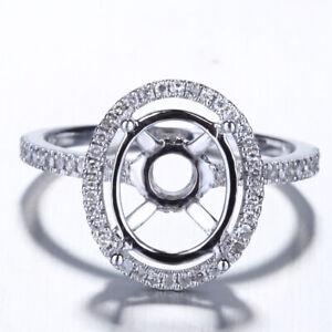 11x9mm Oval Semi Mount Pave.3ct Diamond 14K White Gold Engagement Wedding Ring