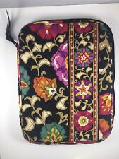 Vera Bradley Black Floral Suzani Tablet Quilted Padded Case Zip Around Pouch