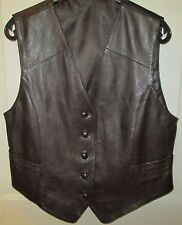 Vintage Lady's Chocolate Brown Leather Vest Excellent Made in Germany Never Worn