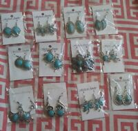 Genuine Turquoise Silver Plated Dangle Earrings-Variety of Styles