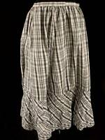 RARE FRENCH PROVENCE EDWARDIAN PLAID COTTON SKIRT 30W
