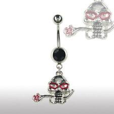 Bauchnabel Piercing Schmuck Totenkopf Rose Top Angebote Skull Rock n Roll