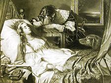 Thomas Jones Barker VICTIM of VANITY Death Bed Dog Crying Man 1880 Print Matted