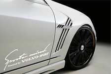 Sports Mind Powered by VOLVO Sport Racing Decal sticker emblem logo WHITE Pair