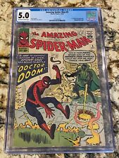 AMAZING SPIDER-MAN #5 CGC 5.0 OW/WH PGS 1ST DR DOOM CROSSOVER SILVER AGE KEY MCU