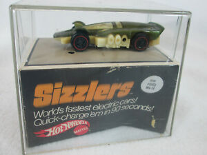 Vintage 1970 Mattel Hot Wheels Sizzlers Double Boiler car green in Mark IV cube