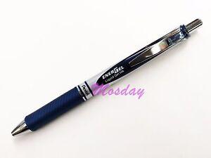 6 x Pentel BL77 Energel 0.7mm Fine Metal Tip Rollerball Gel Pen, BLUE BLACK