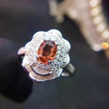 ORANGE YELLOW SAPPHIRE DIAMOND Cluster Halo Engagement Ring 14K White Gold Over