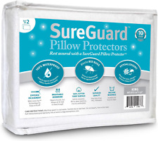 Set of 2 King Size SureGuard Pillow Protectors - 100% Waterproof, Bed Bug Proof,