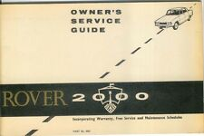 Rover P6 2000 Owners Service Guide & Maintenance Schedules Pub No. 4602