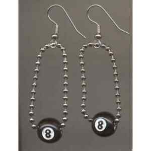 Funky 8-BALL EARRINGS-Retro Pool Billiards Game Lucky Eight Ball Novelty Jewelry