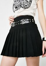 NWOT Goth Punk Tripp NYC Black Buckle Studded Pleated Mini Skirt S