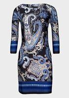 NAVY/BLUE/PINK/WHITE PAISLEY PATTERNED LIGHTWEIGHT TUNIC DRESS - SIZES 6 - 14