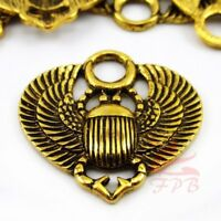 Egyptian Scarab Beetle 27mm Antiqued Gold Plated Pendants SC0086601 - 4/15/30PCs