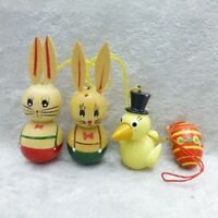 Vintage Wood Easter Bunny Rabbit Duck Egg Ornaments Goula Erzgebirge Style