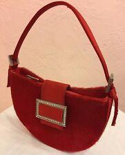 STUART WEITZMAN Handbag RED Pony Hair - Satin Rhinestone Clasp ~ Evening Purse