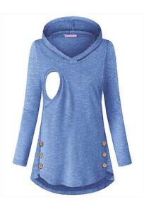 Spring Nursing Jumper Maternity Clothes Handy Hooded Breastfeeding Hoodie N7