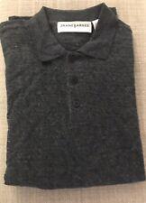 Jhane Barnes Men's Front Button Long Sleeve Luxury Polo Sweater Gray Medium