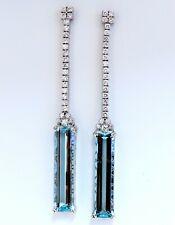 GIA Zertifiziert 62.22ct Natürlich Aquamarin Diamanten Lang Ohrringe 18Kt Platin