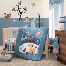 3-Piece Crib Bedding Set Baby Nursery Lion King Adventure Blue Quilt Sheet Skirt