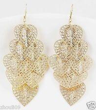 9k Yellow Gold Filled Women Elegant Rhinestone Ear Stud dangle Earrings e496
