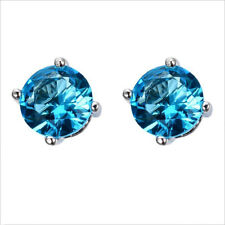 Lady Classical Round Titanic Ocean Blue Topaz Gemstone Silver Stud Hook Earrings