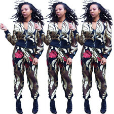 New Stylish Women's Long Sleeves Zipper Sequins Patchwork Clubwear Jumpsuit 2pcs