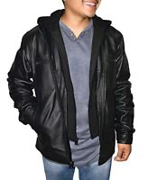 Victory Outfitters Men's Zip Out Removable Hood Genuine Leather Jacket