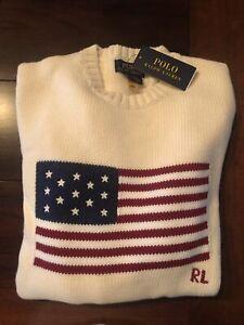 NEW  Polo Ralph Lauren American Flag USA Wool Women's Sweater XS