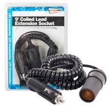 Car 12V 9 Foot Coiled Extension Socket Lead Cigarette Lighter Plug Charger Port