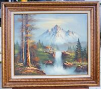 Vintage Painting Original Oil Mountain Cabin Waterfall Forest Serene Landscape