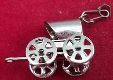 Sterling SILVER Charm 3-D STAGE COACH w/ 4 Working Wheels