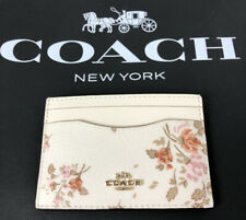 Coach Slim Card Case Holder Leather Rose Bouquet Print Chalk 91789 New P-2